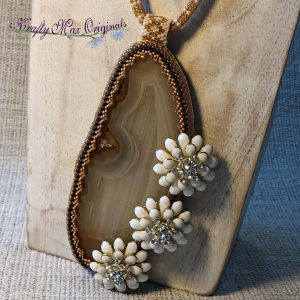 White Flowers in the Brown Wheat Wearable Art Beadwoven Necklace