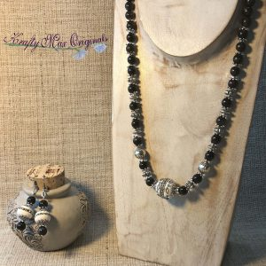Blue Tigereye, White and Silver Necklace Set