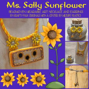 Ms Sally Sunflower Beadwoven Wearable Art Necklace with Center by Wildlife Plastics