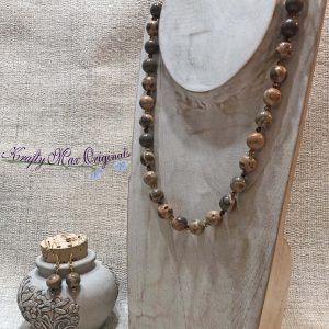 Safari Jasper Tan and Grey with Swarovski Crystals Necklace Set