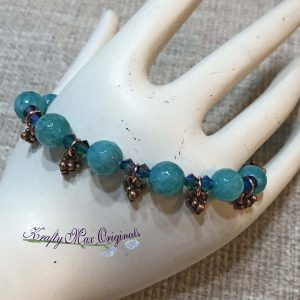 Teal Gemstones and Swarovski Crystals With Copper Dangles Bracelet