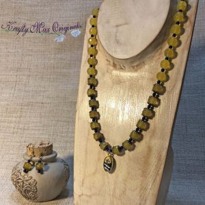 Yellow and Blue (Swarovski Pearls) with a Vintage Clay Center from Grandmothers Stash Necklace and Earrings Set