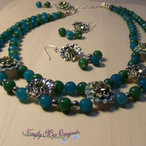 Double Strand Blue and Green Gemstones with Metal Flowers Necklace Set