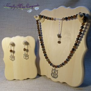 Green Tigereye and Agate with Owl Necklace Set