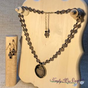 Grey Agate and Black Swaroski Crystal with Gold Plated Center Necklace Set