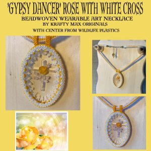 Gypsy Dancer Rose with White Cross Wearable Art Necklace with Center from Wildlife Plastics