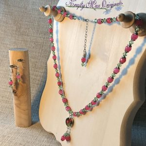 Pink Gemstone and Green Swarovski Crystal Necklace Set with Pressed Miniature Flowers