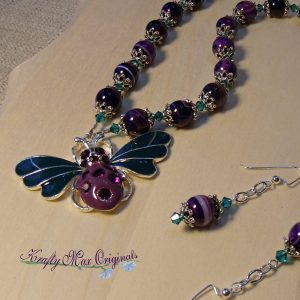 Purple Gemstones and Teal Swarovski Crystals With Butterfly from Grandmothers Stash Necklace Set