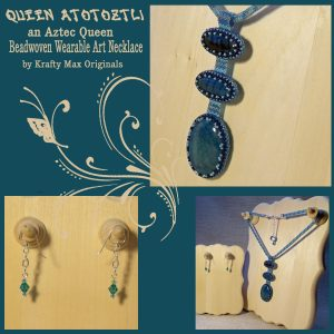 Queen Atotoztli Teal Dragon Vein Gemstone Beadwoven Wearable Art Necklace Set
