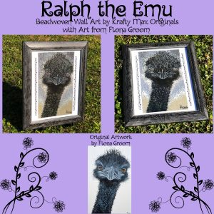 Ralph the Emu Beadwoven Wall Art by Krafty Max Originals with Original Artwork by Fiona Groom