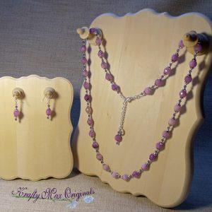 Soft Purple Gemstones with Purple Swarovski Crystals Long Necklace Set