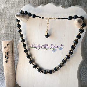 Black Onyx and Swarovski Crystal with Gold Necklace Set