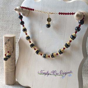 Garnet and Gold with Swarovski Crystals Necklace Set