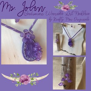 Ms. Jolan Beadwoven Wearable Art Purple Flower Necklace Set