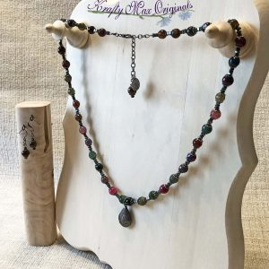 Faceted Multi Colored Gemstone with Locket and Gunmetal Accents Necklace Set