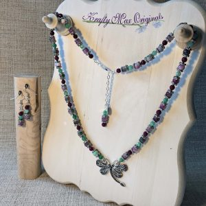 Marcasite Dragonfly with Pink and Green Gemstones Necklace and Earrings Set