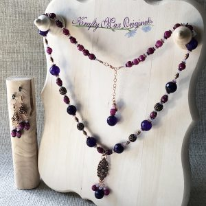 Purple and Pink Gemstones with Copper Beads and Focals Necklace Set