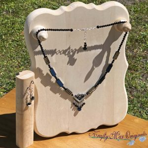 Hematite Arrows Black Onyx and Blue Goldstone with Dangles Necklace Set