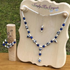 Blue and White Gemstone Hello Kitty Necklace Set