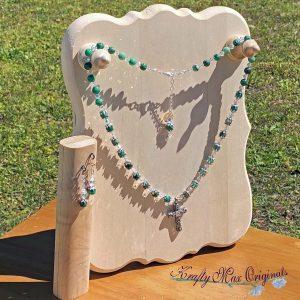 Green Crazy Lace Jasper and Swarovski Crystals Necklace Set