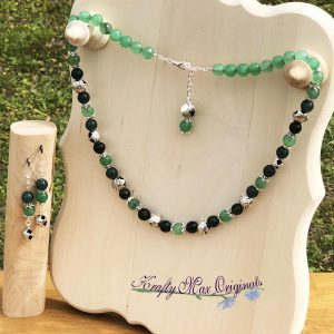 Green on Green with Silver Stars Necklace Set