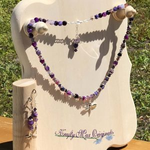 Purple Banded Agate and Swarovski Crystals with Dragonflies Necklace Set