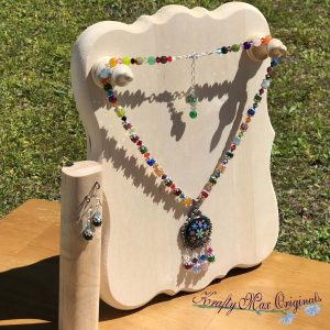 Rainbow Gemstone and Swarovski Crystals Necklace Set