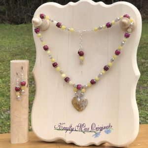 Yellow and Pink Gemstone with Heart Necklace Set