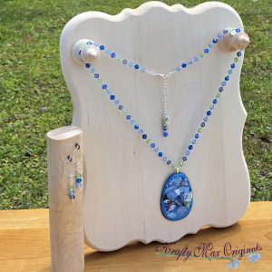 Blue and Green Swarovski Crystals with Metallic Enameled Center Necklace Set