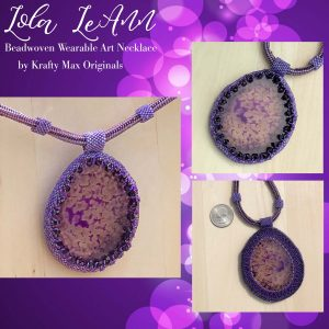 Lola LeAnn – Purple Agate Slice Beadwoven Wearable Art Necklace