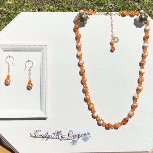 Orange Gemstone and Swarovski Crystal Necklace Set
