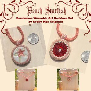 Peach Starfish Beadwoven Wearable Art Necklace
