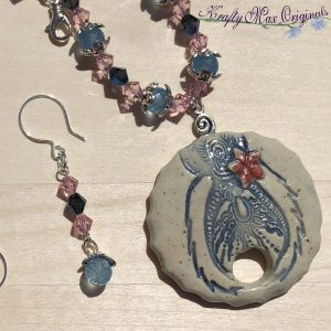 Pink and Blue Handmade Ceramic Flower Disc with Swarovski Crystals Necklace Set