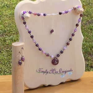 Purple Gemstone and Flowers with Swarovski Crystals Necklace Set
