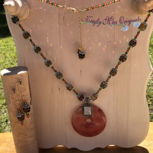 Peach Quartz and Gemstone Necklace with Swarovski Crystal Necklace and Earrings Set