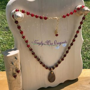 Warm Red/Orange Gemstone Necklace Set with Swarovski Crystals