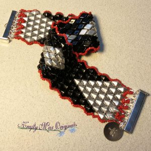 Black and Silver  with a Touch of Red Beadwoven Double Diamond Bracelet