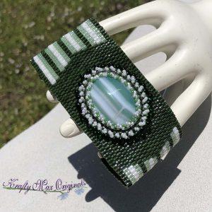 Green and White Beadwoven Wearable Art Bracelet