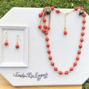 Peach Ceramic and Swarovski Crystal 3 Piece Necklace Set