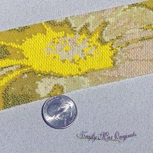 YELLOW Flower Beadwoven Wearable Art Bracelet Cuff