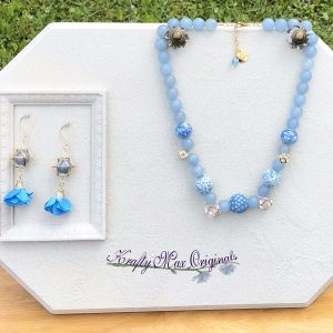 Blue and Gold Shapes Necklace and Flower Earrings with Beads from Jessie James Beads