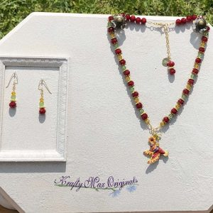 Vintage Hummingbird Red Green and Yellow Necklace Set from Grandmothers Stash