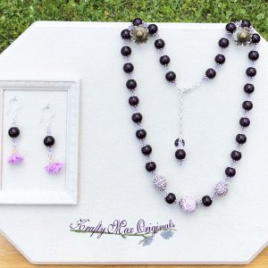 Purple Sparkle Necklace and Flower Earrings with Beads from Jessie James Beads
