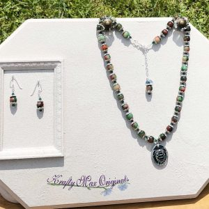 "Turtle ""Home is where the heart is"" Gemstone and Swarovski Crystal Necklace Set"