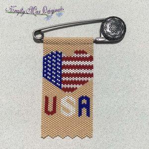 USA Heart Flag Beadwoven Art Pin