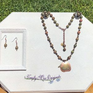 Fall Swarovski Crystal and Gemstone Necklace Set with a Whale Drop