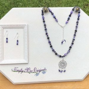 Purple Faceted Gemstones and Swarovski Crystals Dream Catcher Necklace Set