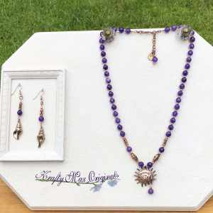 Purple Gemstone and Copper Necklace Set with Metal Shells