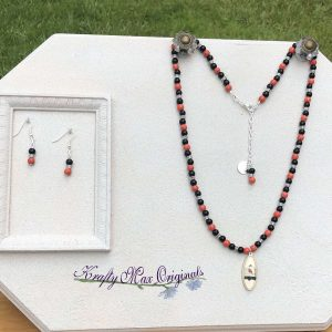 Red and Black Bird and Cage Necklace Set from Grandmothers Stash