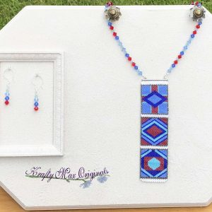 Quilt Blocks Beadwoven Wearable Art Necklace Set